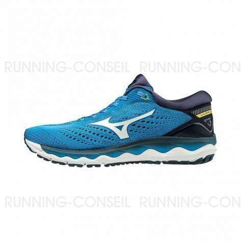MIZUNO WAVE SKY 3 Homme | Campanula / White / Blazing Yellow