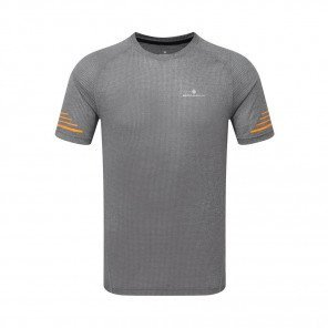 RONHILL Tee-shirt manches courtes STRIDE Homme | Grey Marl/Sunburst | Collection Printemps-Été 2019